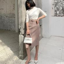 Womne Fashion Autumn Winter Pink Woollen Mid-Calf Skirt Casual Belt Warm Bodycon Skirt Elegant High Waist Split Skirt self belt ruffle waist high split skirt