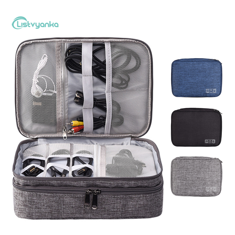 Travel Digital Storage Bag Portable Electronic Accessories Cable Organizer Bag Power Charger Pouch Zipper Box Case USB Cable Bag