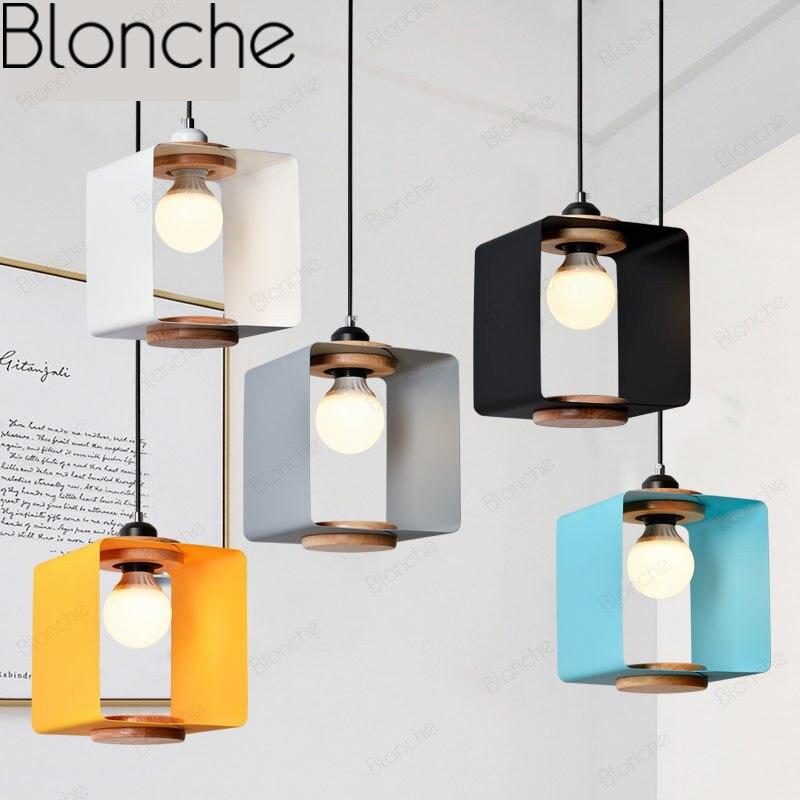 Nowoczesna lampa kostka wisiorek światła Nordic przemysłowe zmiana lampy dla pokoju gościnnego Bar sypialnia drewniane Luminarias Macarons projekt światła