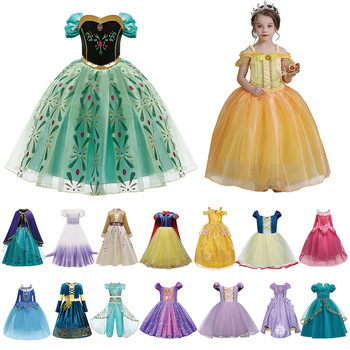 hot formal princess kids girls summer mesh wedding dresses party gown for age 3 4 5 6 7 8 9 10 years children prom gown clothing New Baby Girl Petal Pearl Princess Kids Birthday Dresses Elza Anna Children Clothing 3 4 5 6 7 8 9 10 Y Girls Party Fancy Dress