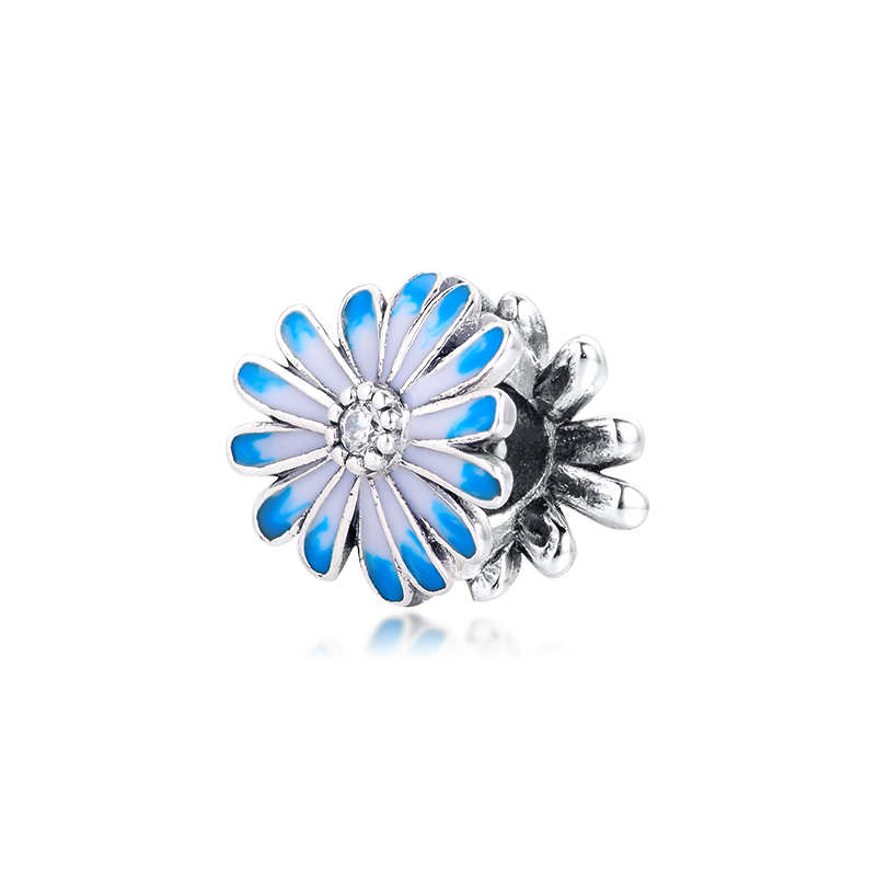 Acsesoris For Women Blue Daisy Flower Charm Sterling Silver Jewelry Fits Silver 925 Bracelets For Woman DIY Beads