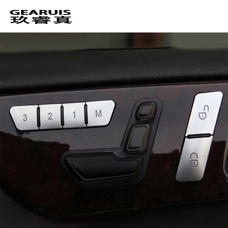 Car Styling Door Seat Memory Lock Buttons Trim Covers Stickers For Mercedes Benz C E Class W204 W212 Auto Interior Accessories