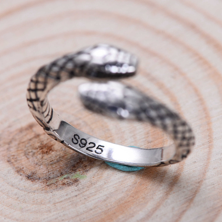 925 Sterling Silver Vintage Double Snake Head Thai Silver Ladies Finger Rings Jewelry Unisex Open Adjustable Size Ring Man