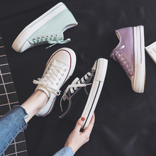 Women Shoes 2020 Summer New Fashion Canvas Shallow Platform Shoes Women's Flats Casual Women Solid Color Sneakers Breathable
