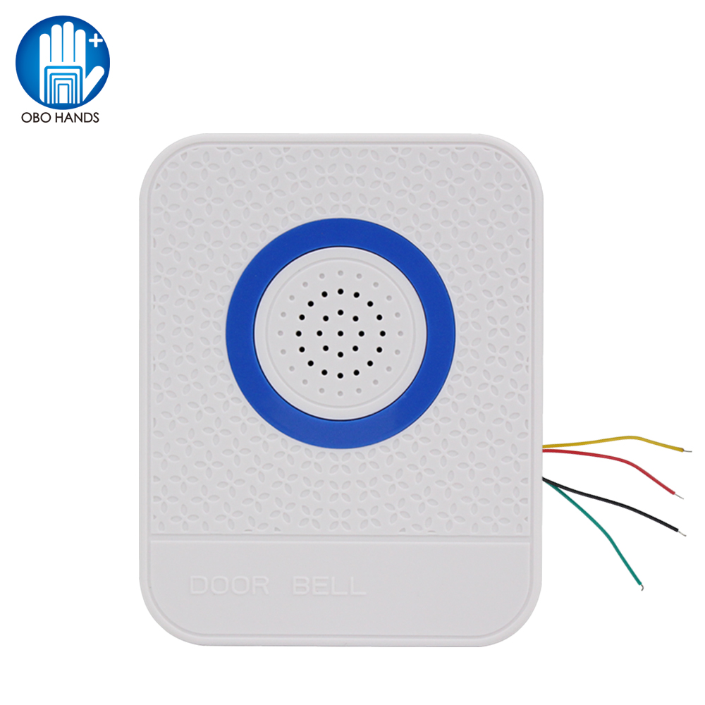 4 Wires Wired White Doorbell DC12V Access Control Door Bell Electronic Dingdong Ringtone Ring Button For Home Security System