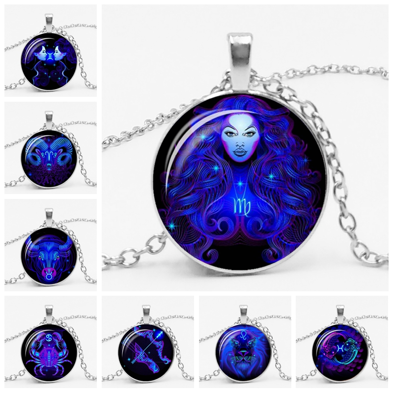 LETSSLIM Galaxy Constellation 12 Zodiac Astrology Necklace Female Pendant Mens Glass Bevel