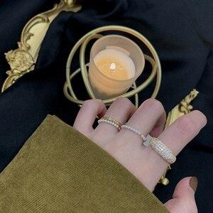 MENGJIQIAO Korean Fashion Design Luxury Shiny Zircon Rings For Women Students Elegant Pearl Mid Finger Knuckle Rings Jewelry