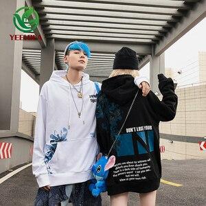 Image 2 - 2019 Dropshipping Herfst Winter Hoodie Mannen Vrouwen Hip Hop Bloemenprint Oversized High Street Band Losse Sweatshirt