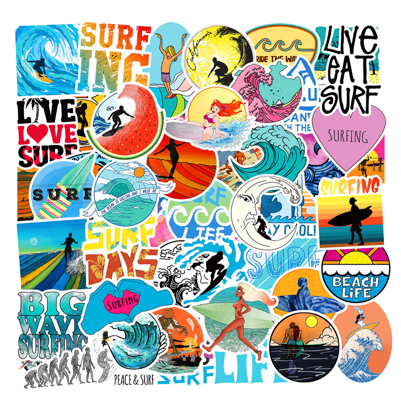 50pieces Surfing Stickers For Wall Decor Fridge Motorcycle Bike Refrigerator Laptop Car Waterproof Cartoon Sticker No Repeat