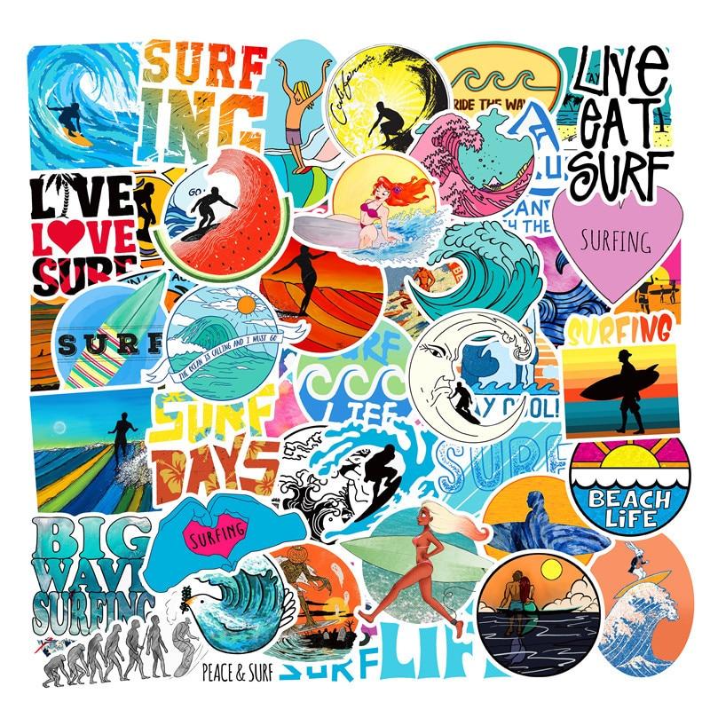 50pieces Surfing Stickers For Wall Decor Fridge Motorcycle Bike Refrigerator Laptop Car Waterproof Cartoon Sticker No Repeat