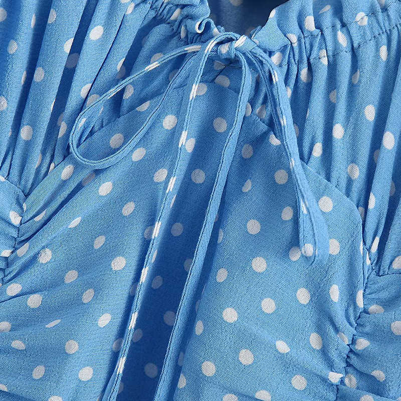 Aachoaeผู้หญิงPolka Dotพิมพ์เซ็กซี่Bodyconชุดพัฟแขนสั้นมินิชุดBow Tie Sheath PARTYฤดูร้อนRobe femme