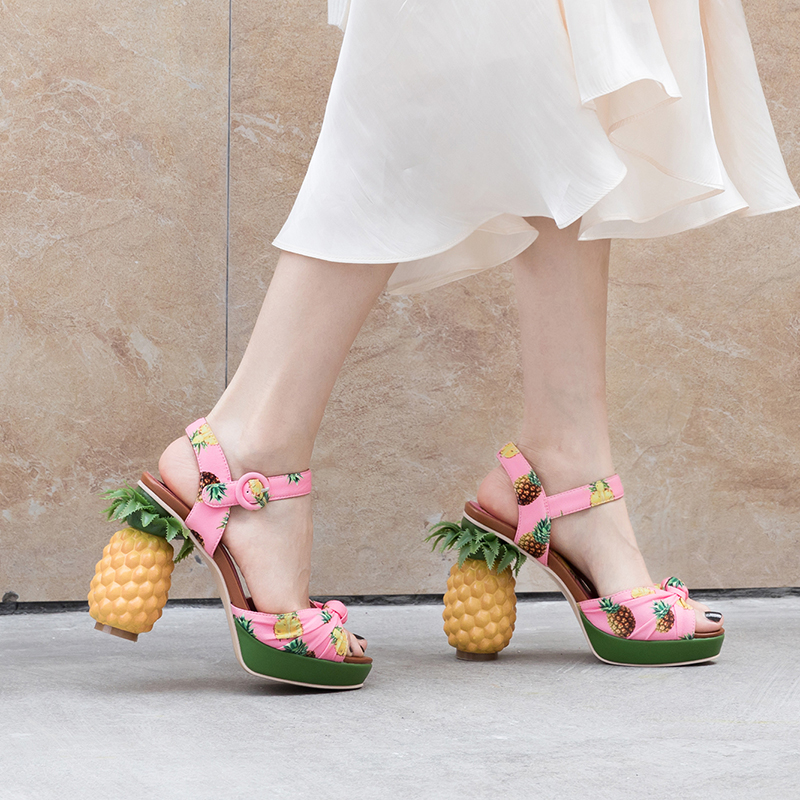 Lucyever Fashion Women High Heels Sandals Peep Toe Platform Shoes Ankle Buckle Pumps Mujer Genuine Leather Summer Shoes Woman