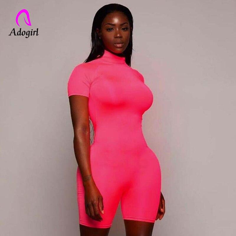 Fitness Women Streetwear Neon Bodysuit Women Mock Neck Short Sleeve Casual Playsuit High Elastic Sexy Tight Sports Overalls 2020