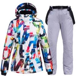 Conjunto de ropa de nieve para mujer, ropa de esquí impermeable a prueba de viento, ropa de invierno, chaquetas de esquí de montaña snowboard + pantalones con peto de nieve