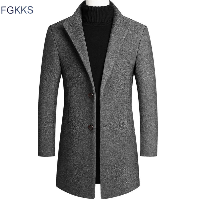 FGKKS New Men Wool Blend Coat Slim Fit Business Male Wool Blend Coats Casual Fashion Warm Men Coat