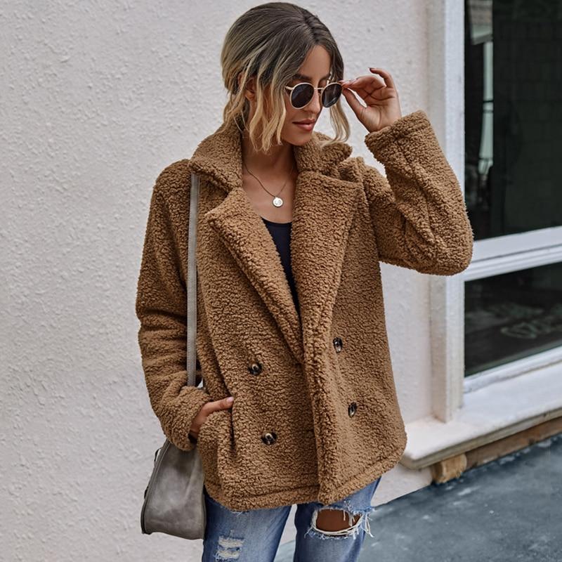 2020 Autumn Teddy Coat Women Plus Size Faux Fur Coat Female Thick Warm Plush Teddy Jacket Long Sleeve Winter Coat Women 5XL