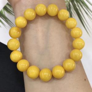 Image 2 - 11.2 มม.ธรรมชาติสีเหลือง Amber อัญมณีรอบสร้อยข้อมือผู้หญิงผู้ชาย Healing ยืด Reiki Amber ใบรับรองเครื่องประดับ AAAAA