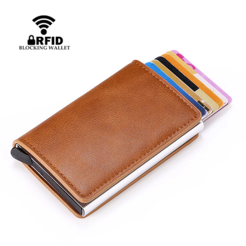 2020 RFID Anti-Theft Automatic Wallet Credit Card Holder PU Leather Fashion Card Wallet Card Case Men And Women Wallet Purse