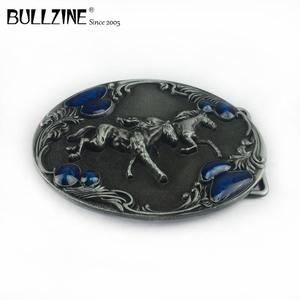 Image 3 - Bullzine western zinc alloy running horse belt buckle pewter  finish FP 03388 cowboy jeans gift belt buckle