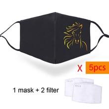Masques faciaux pour hommes et femmes, animaux de cheval drôles, lavables avec sangles réglables, Masque buccal anti-poussière, filtres PM2.5, 2/5 pièces