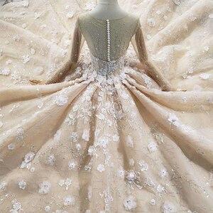 Image 5 - HTL256G свадебное платье ручной работы с цветами, роскошное бальное платье с круглым вырезом и длинными рукавами, с бусинами, со шлейфом, 2020