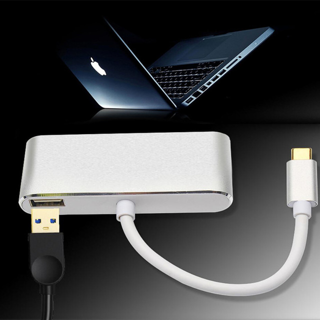 Adaptador de Hub USB C 3 en 1 Tipo C a 4K HDMI USB 3,1 de carga multipuerto divisor Convertidor para ordenador MacBook Pro PC