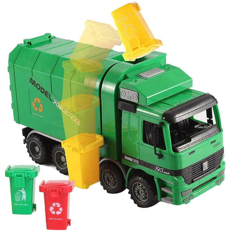 14 Inch Friction Powered Garbage Truck Toy,with 3 Trash Cans,No Battery Required,A Great Gift for Children