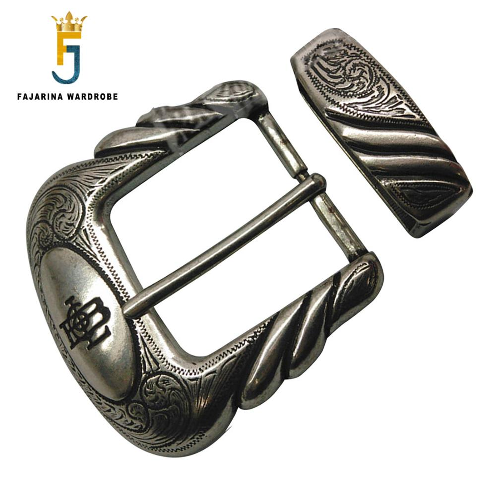 FAJARINA Europe Palace Retro Style Silver Plating Belt Buckle Cool Fashion Plate With Silvery Pin Buckles Two Pieces BCK010