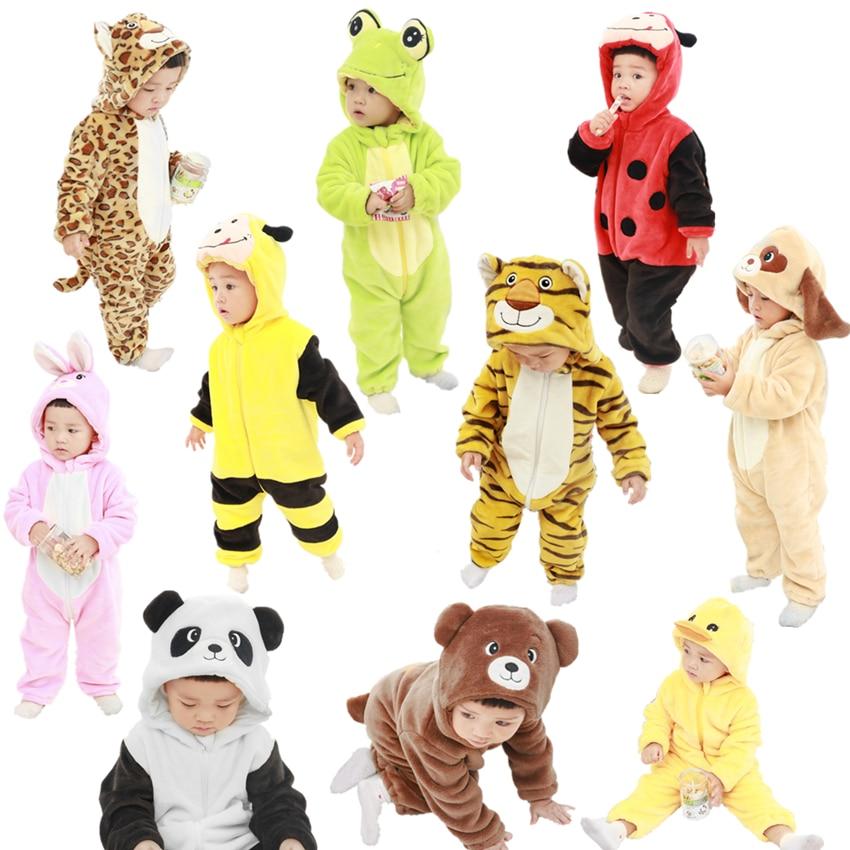 Cute Cartoon Flannel Baby Rompers Novelty Rabbit Cotton Boys Girls Animal Stitch Babys Sets kigurumi New born 2019