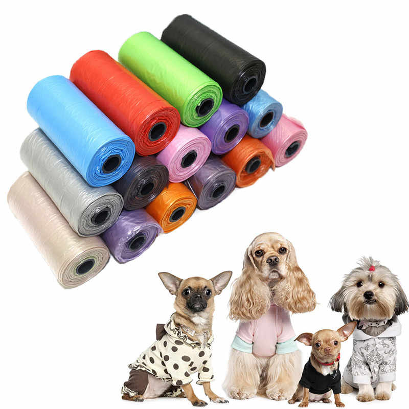 15 Pcs/Roll Pet Garbage Bag Solid Color Garbage Bag Green Eco-Friendly Degradable Material Pick Up Garbage Practical dog bags