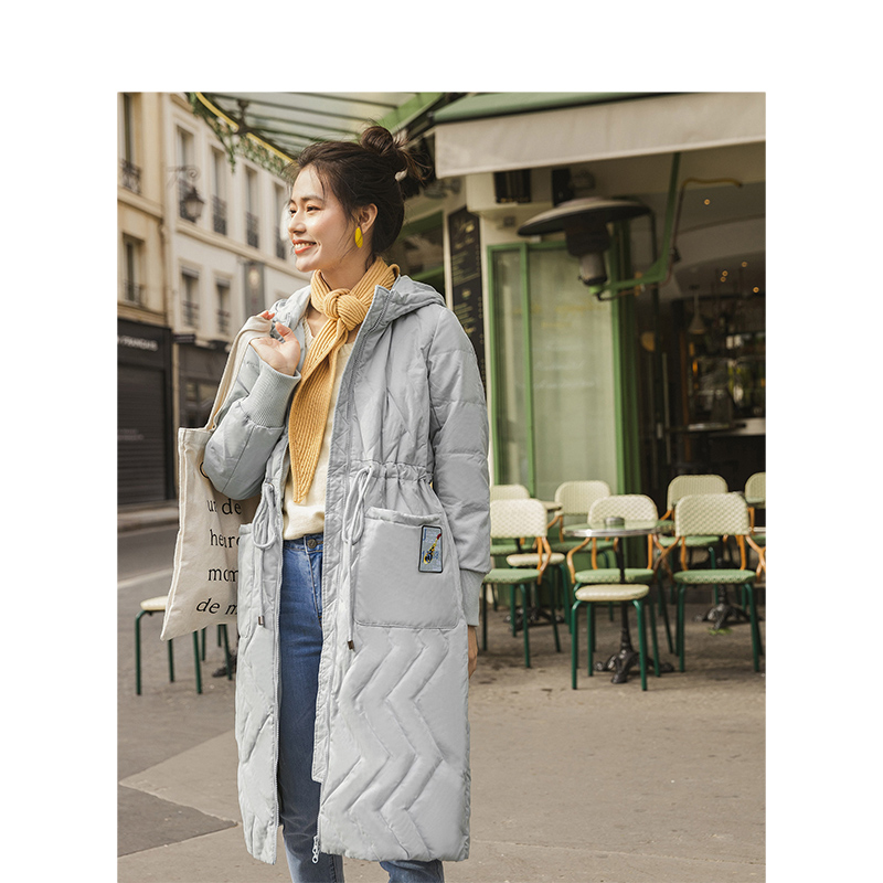 INMAN Winter New Arrival Female Hooded Slim Embroidery Loose Long Section Down Coat