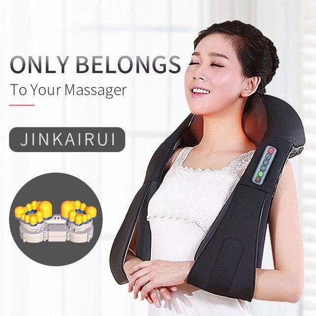 U Shape Electrical Shiatsu Back Neck Shoulder Body Massager Infrared 4D Kneading Massage EU/Flat Plug Car Home Dual Use 16 Balls 3