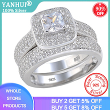 With Certificate High Quality Crystal Promise Engagement Ring Set For Women 925 Silver Zircon Bridal Wedding Bands Fine Jewelry cheap yanhui 925 Sterling Third Party Appraisal Prong Setting Rings See Pics CER149 ROUND Classic S925 Gift Ring Box with certificate and Polishing Cloth