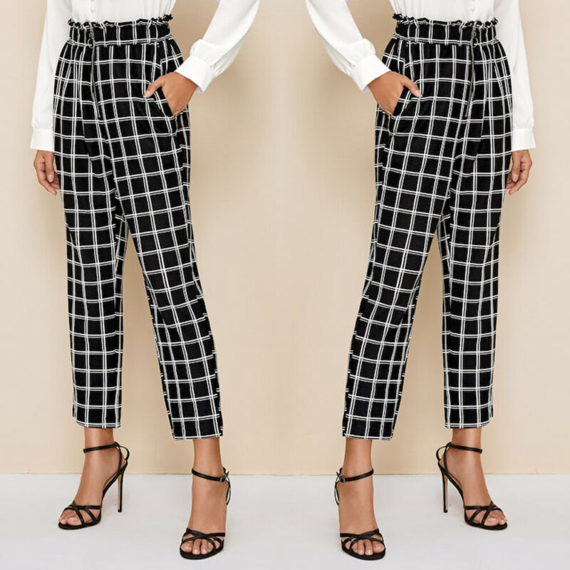<font><b>Womens</b></font> Palazzo Ladies Plaid Printed Wide Leg <font><b>Baggy</b></font> <font><b>Pants</b></font> Office Work Trousers US image