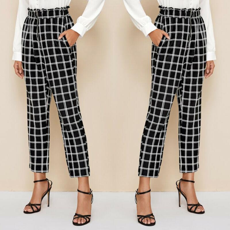 Womens Palazzo Ladies Plaid Printed   Wide     Leg   Baggy   Pants   Office Work Trousers US