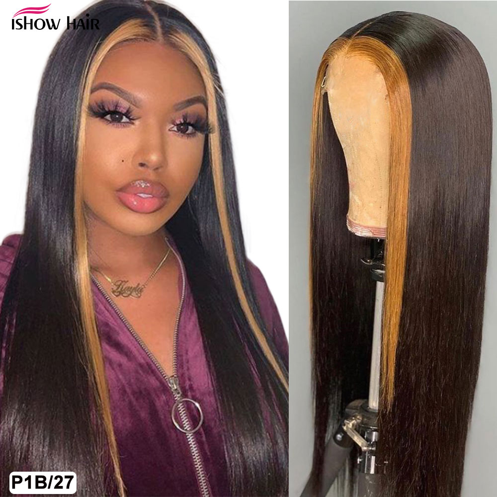 Ishow Highlight Wig Brown Colored Human Hair Wigs 13X4 13X6x1 Ombre Straight Lace Front Wig Highlight Lace Front Human Hair Wigs 4