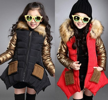 Winter girls Hooded cotton-padded clothes Kids girl teenager cotton-padded Thicken warm Kids Outerwear coat For Winter 3-16T 2018 baby girls cotton padded outerwear
