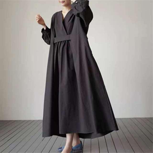 Johnature 2021 Autumn New Korean V-neck Full Sleeve Plus Size Solid Color Dresses Women Casual Loose Pockets Female Dress 6