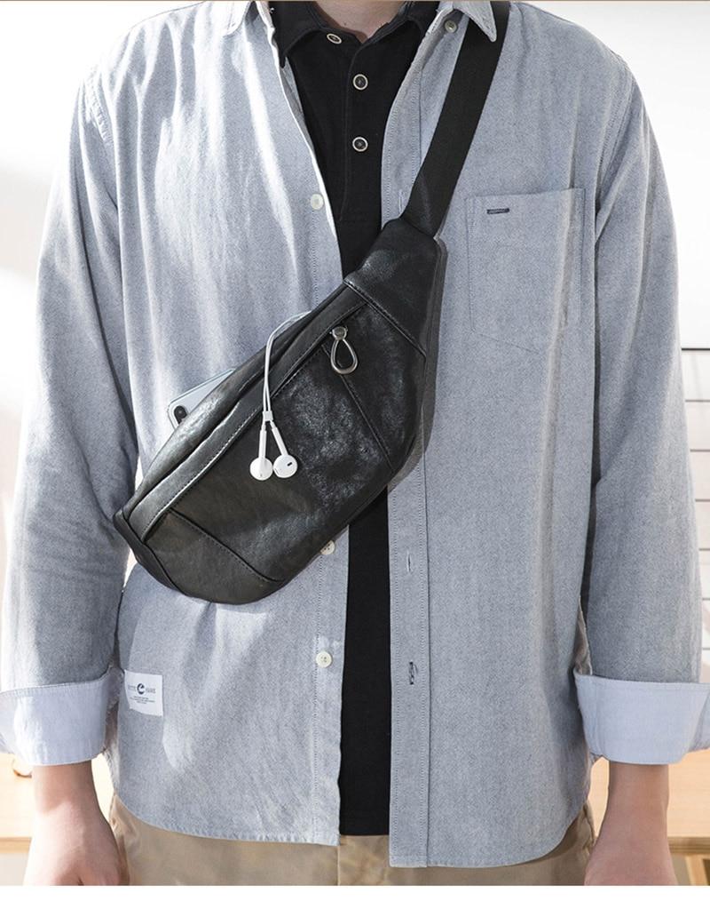 masculino único ombro inclinado saco, couro lazer