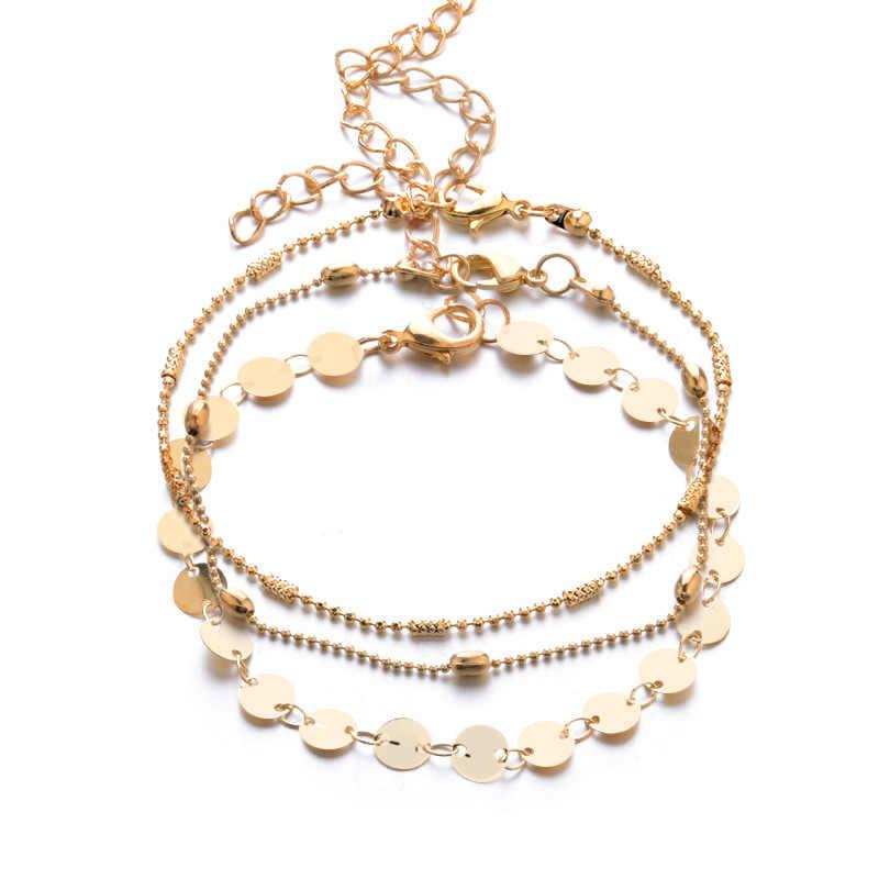 בוהמיה רב שכבות זהב כסף חרוזים 3 חתיכות סט צמיד לנשים תכשיטי שרשרת רגל צמידי קרסול אביזרי צמידים