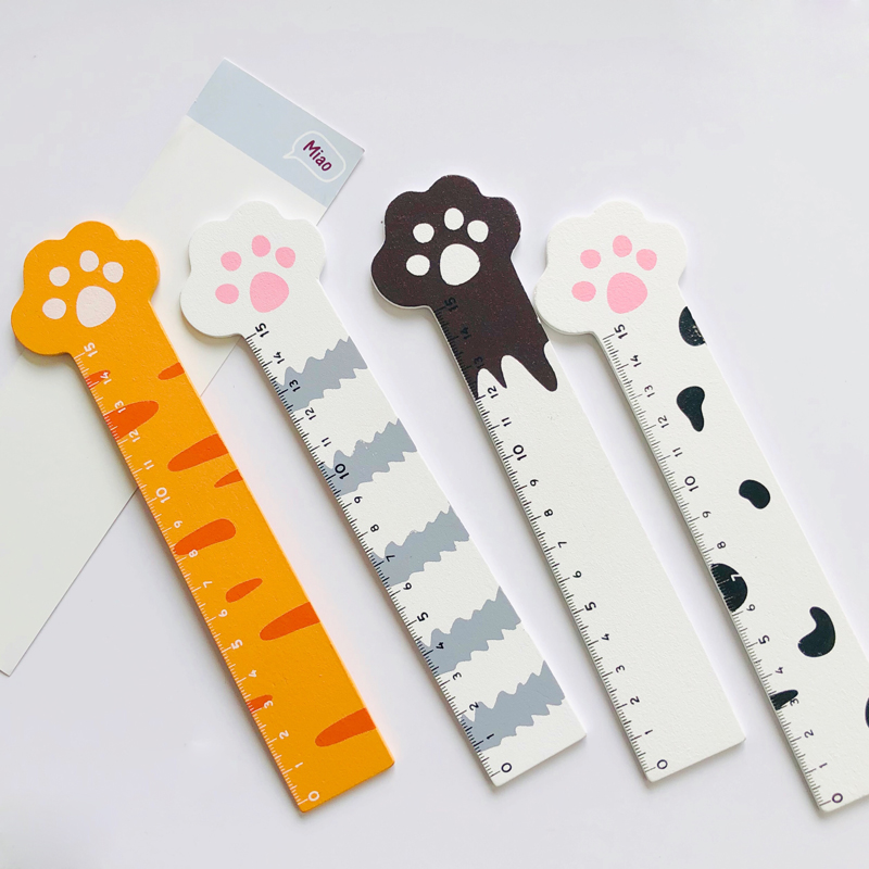 15CM Cute Meow Cat Paw Wooden Measure Ruler Metric Tool