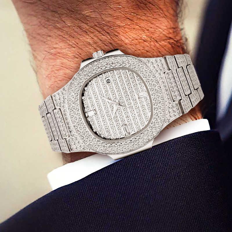 Relogio Masculino MISSFOX Bling Bling เพชรนาฬิกาสำหรับชาย Iced OUT Luxury Mens นาฬิกาควอตซ์ชาย Patek เงินนาฬิกาข้อมือ
