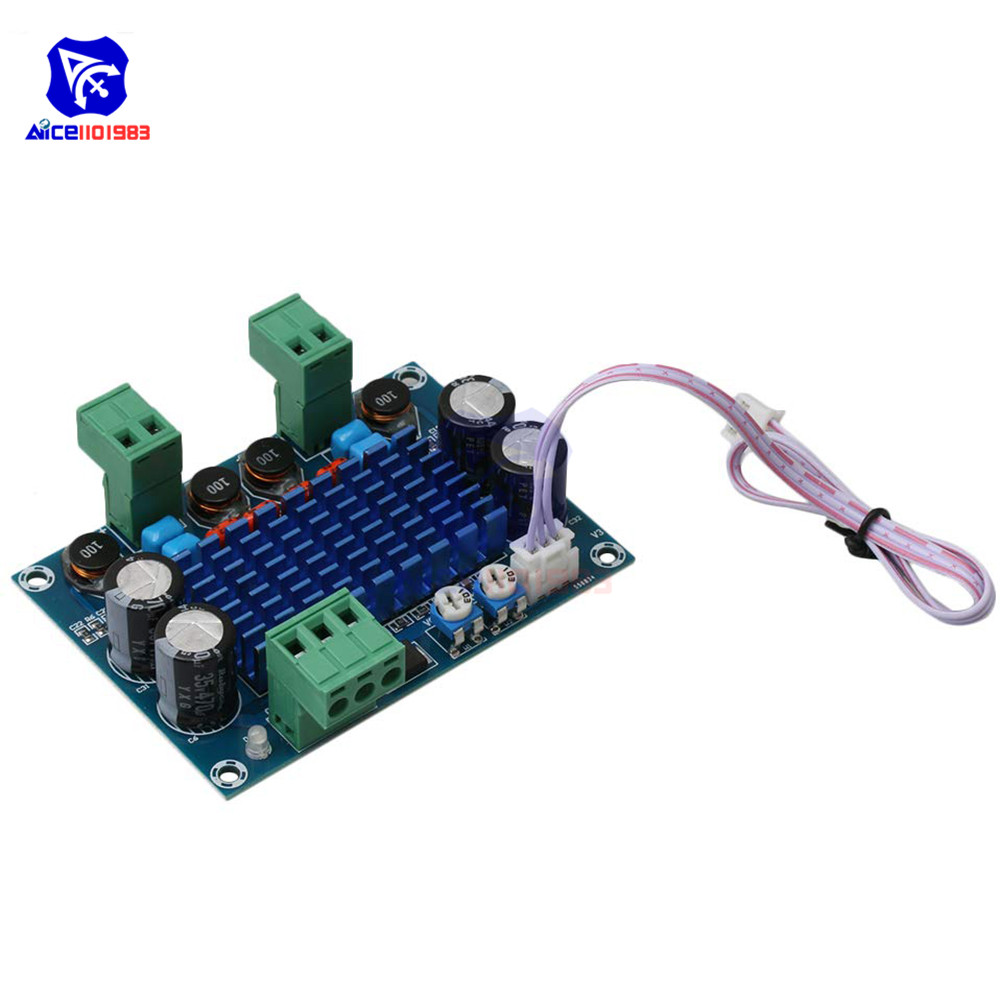 XH-M572 120W*2 Ultra Power TPA3116D2 Digital Amp Audio Amplifier Board Module DC 5 -28V With Wire