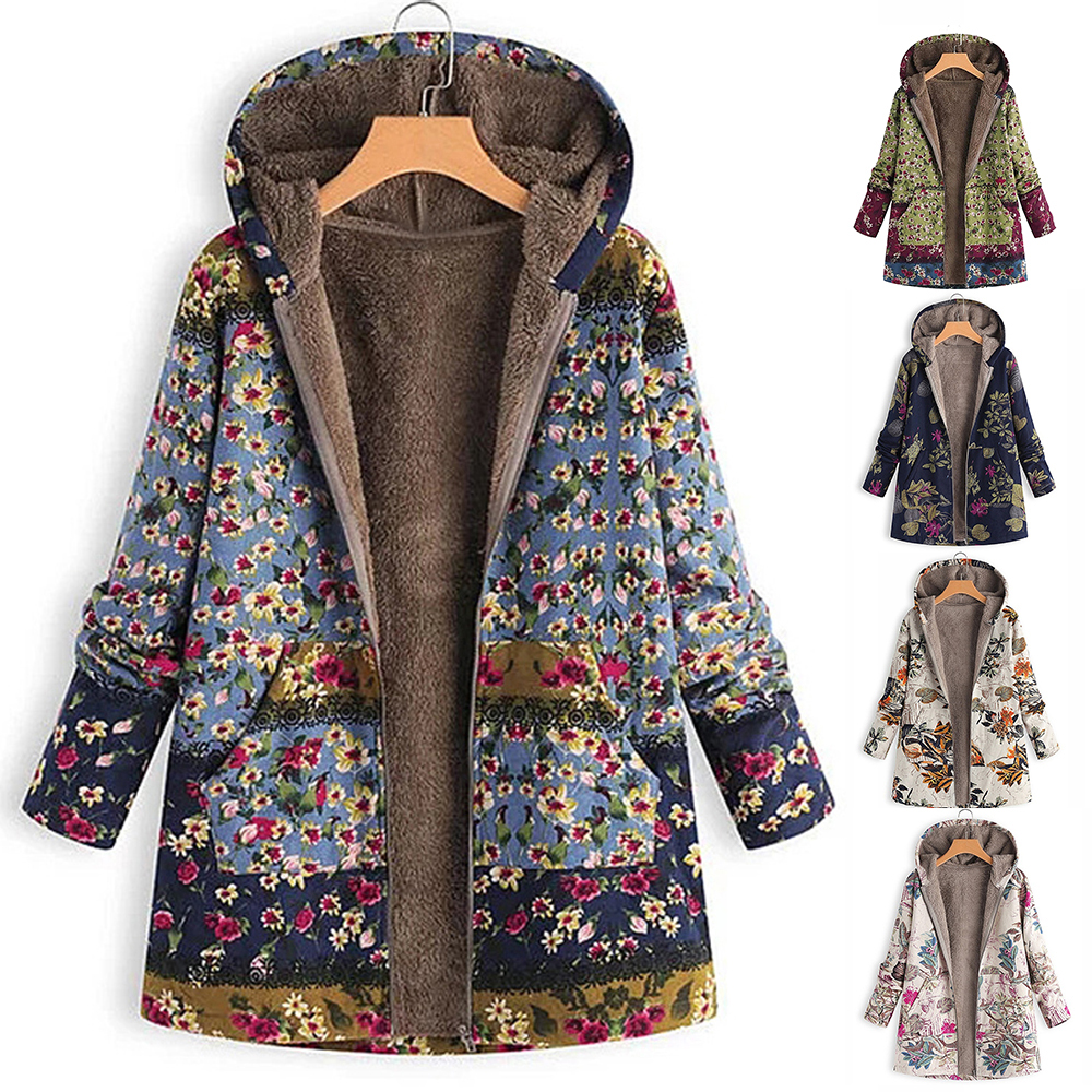 Women Coat Winter Casual Floral Print Warm Fleece Hooded Female Coat Plus Size Pocket Women Outwear Long Coat image