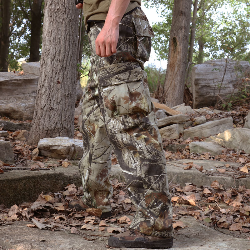 6 Pockets Bionic Camouflage Cotton Breathable Pants Men Outdoor Camping Hunting Climbing Fishing Birdwatching Wearproof Trousers
