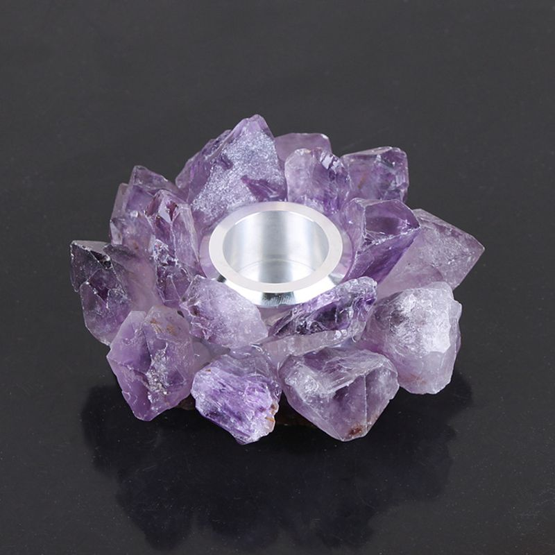 Natural Cluster Crystal Tealight Candle Holder Decorative High Energy Geode with Healing & Calming Effects image