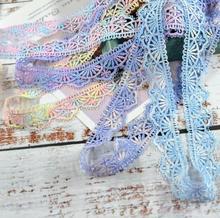 2 메터/몫/lot 2.6cm 너비 고품질 블랙 화이트 블루 레이스 바느질 리본 Guipure 베니스 레이스 트림 패브릭 워프 뜨개질 DIY