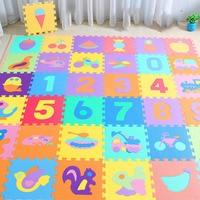 10Pcs/set 30*30cm Number Animal Pattern Baby Play Mat Puzzle Toys For Kids Children EVA Foam Yoga Crawling Mats Floor Tapete