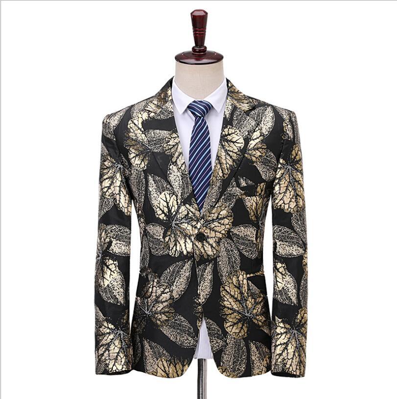 S-5XL New Fit Slim Fashion Flower Blazer Men Singers Host Dj Show Suit Jacket Stage Costumes Bridegroom Wedding Dress Plus Size