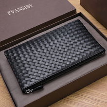 100% Cowhide Leather Men's Clutch Bag Luxury Brand Woven